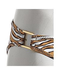 Trina Turk | Metallic Gold Foil Animal Print Buckle Detail Hipster | Lyst