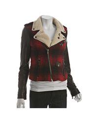 William Rast | Red Wool Blend Plaid Leather Sleeve Jacket | Lyst