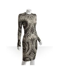 Alexander McQueen | Gray Grey Skull Printed Wool-silk Sweater Dress | Lyst