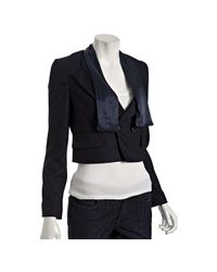 Marc By Marc Jacobs | Ink Blue Wool Herringbone Cropped Jacket | Lyst