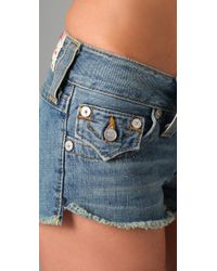 True Religion - Blue Joey Cutoff Shorts - Lyst