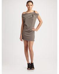 Helmut Lang - Gray Drop Shoulder Dress - Lyst