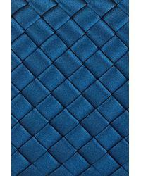 Bottega Veneta - Blue Satin Intrecciato Knot Clutch - Lyst