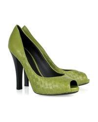Bottega Veneta Green Intrecciato Leather Peep-toe Pumps
