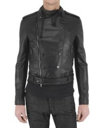 Burberry Prorsum | Black Lambskin Biker Leather Jacket for Men | Lyst