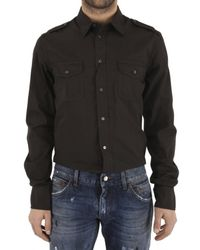 Dolce & Gabbana | Green Military Style Poplin Gold Fit Shirt for Men | Lyst