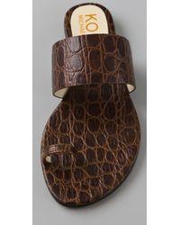 Kors by Michael Kors | Brown Zen Toe Ring Flat Sandals | Lyst