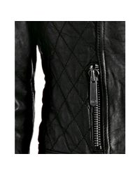 MICHAEL Michael Kors - Black Leather Quilted Detail Zip Jacket - Lyst