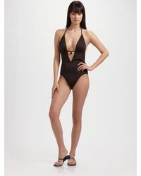 MILLY | Brown Deep V One-piece Swimsuit | Lyst