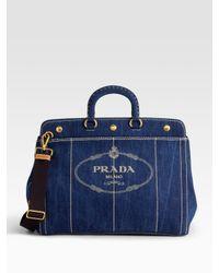 Prada   Blue Logo Denim Top Handle Bag   Lyst