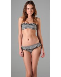 Shoshanna | Gray Ruffle Bandeau Top & Bikini Bottom | Lyst