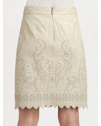 Tory Burch - Green Alexander Leather Laser-cut Skirt - Lyst