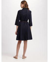 Tory Burch - Blue Blythe Stretch-poplin Shirt Dress - Lyst