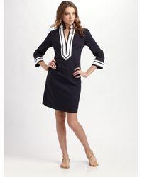 Tory Burch - Blue Twill Suiting Mini-dress - Lyst