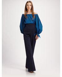 Saint Laurent - Blue Cotton Wide Leg Pants - Lyst