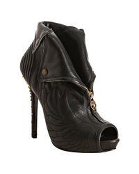 Alexander McQueen | Black Leather Quilted Zip Front Platform Booties | Lyst