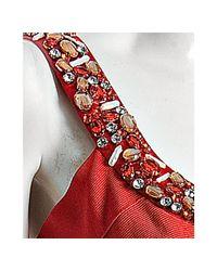 Carmen Marc Valvo - Red Poppy Embellished U-neck Bandage Dress - Lyst