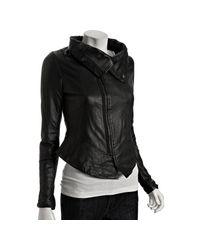 Dallin Chase | Black Leather Solomon Funnel Collar Jacket | Lyst