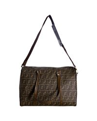 Fendi - Brown Tobacco Zucca Spalmati Leather Detail Travel Bag - Lyst