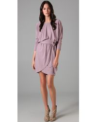 Halston - Purple Off Shoulder Sash Dress - Lyst