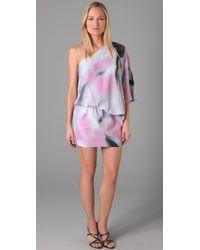 Halston | Pink Galaxy Print Dress | Lyst