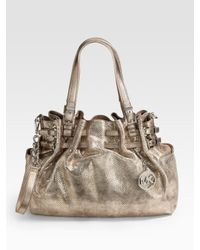 MICHAEL Michael Kors - Metallic Edie Large Leather Shoulder Bag - Lyst