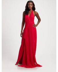 Notte by Marchesa | Red Silk Chiffon Halter Gown | Lyst
