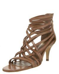 VBH | Brown Strappy Mid-heel Zip Sandal | Lyst