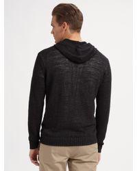 VINCE | Black Hooded Linen Henley Sweater for Men | Lyst