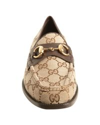Gucci | Brown Cocoa Gg Canvas Horsebit Loafers | Lyst