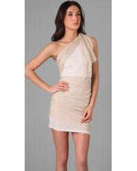 Alice + Olivia - Natural One-shoulder Draped Dress - Lyst