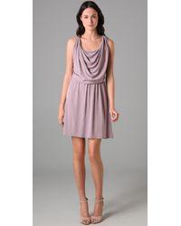 Halston - Purple Front Cowl Dress - Lyst