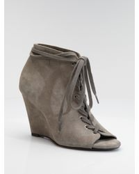 Joie | Gray Suede Open-toe Wedge Ankle Boots | Lyst