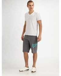 DIESEL | Gray Jersey Lounge Shorts for Men | Lyst