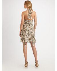 Leifsdottir - Green Amazon Meadow-print Silk Halter Dress - Lyst