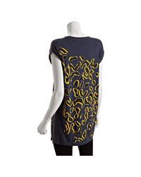 Marc By Marc Jacobs - Blue Sailor Navy Flocked Leopard Print Side Zipper Tunic Tee - Lyst