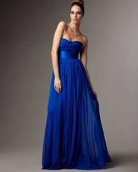 Marchesa | Blue Strapless Satin-waist Gown | Lyst