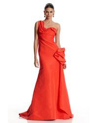 Oscar de la Renta | Red One Shoulder Side Drape Gown | Lyst