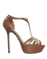 Sergio Rossi | Brown 140mm Gold Plated T-bar Sandals | Lyst