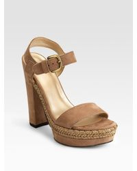 Stuart Weitzman | Brown Platstrutting Suede Sandals | Lyst