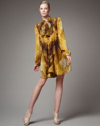Alexander McQueen | Yellow Printed Ruffle-front Shirtdress | Lyst