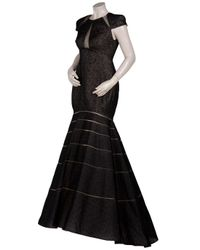 Angel Sanchez - Black Embroidered Cutout Trumpet Gown - Lyst