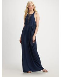 Catherine Malandrino | Blue Macrame Maxi Dress | Lyst