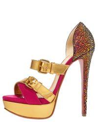 Christian Louboutin - Metallic Ambertina Bejeweled Sandal - Lyst