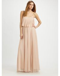 Halston | Pink Pleated Chiffon Maxi Dress | Lyst
