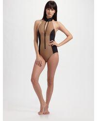 Lisa Marie Fernandez | Green Halter Swimsuit | Lyst