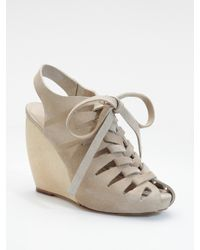 Loeffler Randall - Natural Lace-up Suede Wedge Sandals - Lyst
