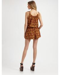 Theory | Brown Larianna Floral Silk Romper | Lyst