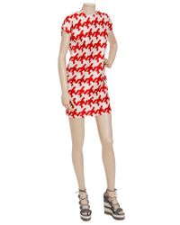 Balenciaga | Red Woven Dress with Enlarged Houndstooth-print | Lyst