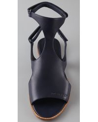 Jil Sander Navy - Blue Flat T Strap Sandals - Lyst